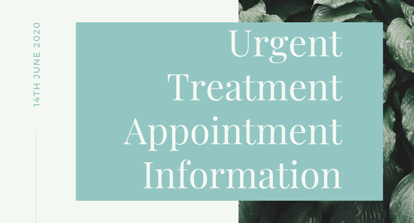 Urgent Treatment Appointment Information - Coronavirus - Covid-19 - AJ Moore Dental Practice Nottingham